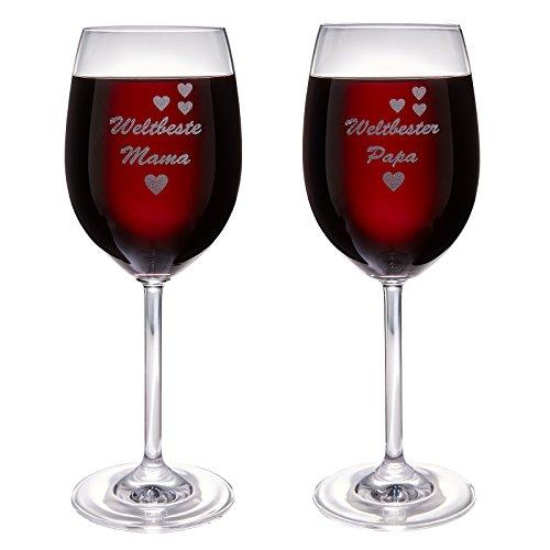 van Hoogen Set Leonardo 1 x Weltbeste Mama und 1 x Weltbester Papa | Weinglas mit Gravur | als...