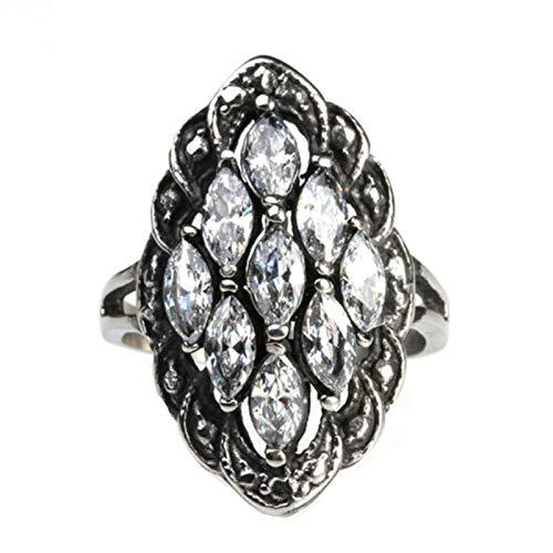 Amody Biker Rock Ring aus rostfreiem Stahl für Herren Vintage filigraner Gothic Zirkonia Ring mit Marquise Zirkonia Silber Hip Hop Ringe Größe 57 (18.1)