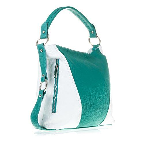 Borsa In Pelle Firenze Artegiani Made In Italy. Autentica Pelle Italiana 35x23x14 Cm. Colore: Taupe / Marrone Verde / Bianco