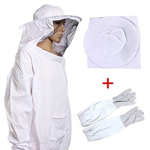CAMTOA-Professionelle-Bienenzucht-Jacke-Schleier-Bienenschutzanzug-Kleid-Kittel-Ausrstung-Schutzbekleidung1-Pair-Bienenzucht-Langarm-Handschuhe
