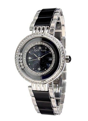 Stella Maris Damen Armbanduhr - Analog Quarz - Premium Keramik Armband - Perlmutt Zifferblatt - Diamanten und Swarovski Elemente - STM15SM14