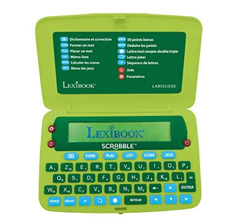 Lexibook -SCR8FR Elektronisches Wörterbuch Scrabble ODS8 Larousse FISF, Buchstaben, Schiefer, Rechtschreibkorrektur, 400.000 Worte, Definitionen, 4 Spiele, batteriebetrieben, Grün/Rot, SCR8FR