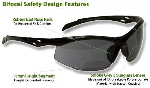 Bifocal Safety Glasses SB-9000 PS Smoke, +1.00