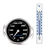 Lantelme 7272 Grillzubehör Set mit Edelstahl Grillgitter und Kunststoff Gartenthermometer - Grillthermometer und Außenthermometer Analog