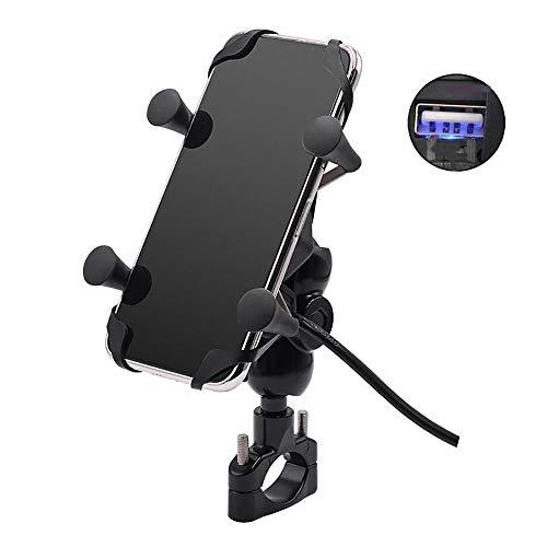 Fankr Motorrad-Telefonhalterung Mit Ladegerät 12V 2A USB-Anschluss Schnellladung Einstellbar Wasserdicht Am Lenker Installieren, Anzug Für Alle 3,5