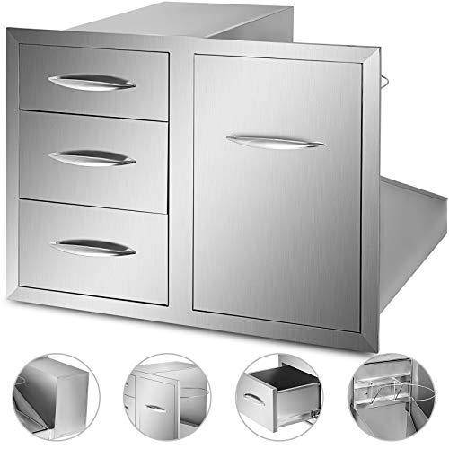 Husuper 76.2cm Küchenschublade Edelstahl Doppelzugriffsschublade Dreischubladen Einbau Schublade mit Flaschenschrank Ablage mit Chrom Griff Outdoor für BBQ und Küche