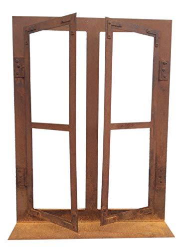 fensterrahmen deko fenster Deko-Fenster 45 x 33 cm zum Öffnen Rost Edelrost Metall + Original Pflegeanleitung von Steinfigurenwelt