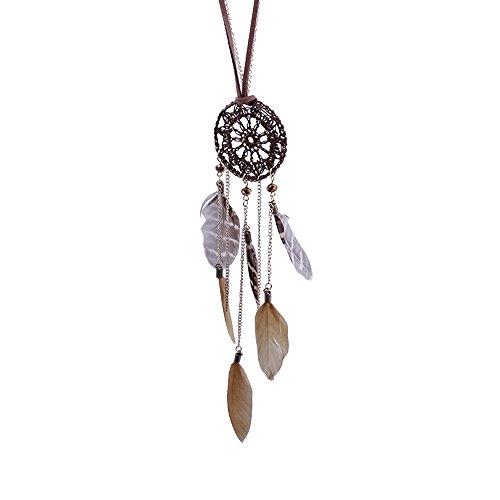 SECOWEL Retro Schmuck Legierung Anhänger Halskette Kette Golden Indianer Traumfänger Dreamcatcher Feder Amulett