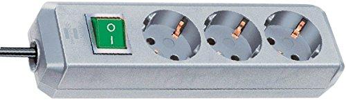 Brennenstuhl 1152330400 Steckdosenleiste Eco-Line mit Schalter 3-Fach 3 m H05VV-F 3G1,5, Silbergrau -
