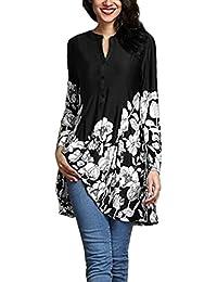 KIMODO Bluse Damen Langarm T Shirts Top Blumendruck V-Ausschnitt Große  Größe Schwarz Rot… 3b95c84c08