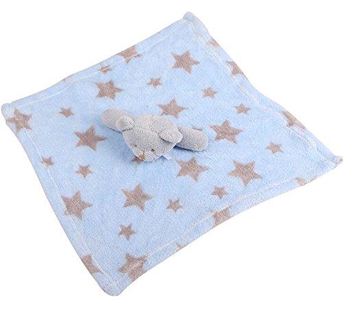 IU Desert Rose Fournitures pour la Maison Serviette de Toilette bébé Peluche Douce Ours bébé Couverture Douillette en Coton Motif étoiles (Couleur : Blue+Grey)