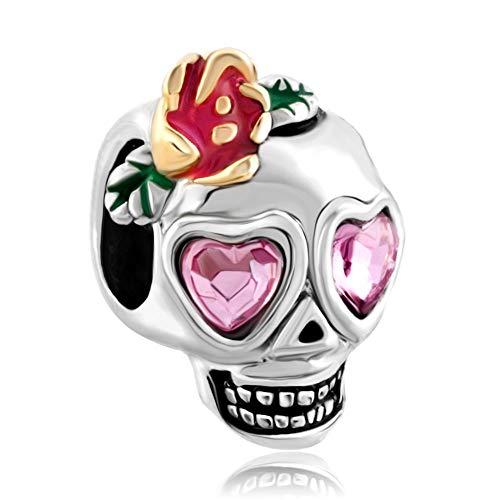 rling Silber Der schädel Dia de los Muertos Herz Rosa Kristall Bead Charm für Armbände ()