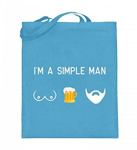 Hochwertiger Jutebeutel (mit langen Henkeln) - Titten Bier Bart - Einfacher Mann Hellblau