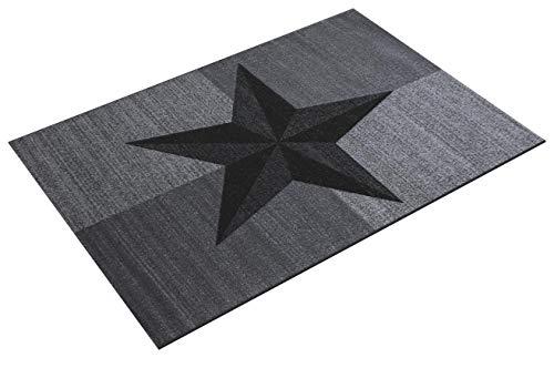 HomebyHome Moderner Kurzflor Guenstige Teppich Stern gesäumt Schwarz Grau Weiss meliert 5 Groessen Wohnzimmer, Jugendzimmer, meliert Kinderzimmer, Größe:160x230 cm