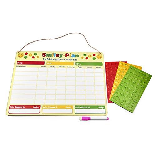 Smiley Belohnungstafel, magnetisch / Belohnungstafel mit Smiley-Magneten für bis zu drei Kinder, 40 x 30 cm