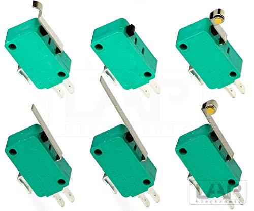 Mikroschalter Endschalter Hebel Rolle Pin Taster Schalter SPDT 10A 250V Auswahl: (3 Stück, Rolle - Mikroschalter Endschalter