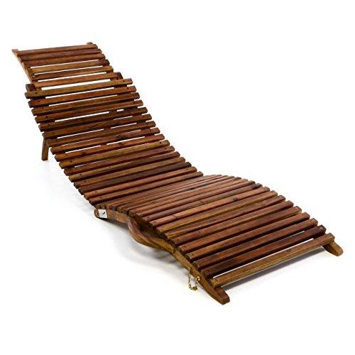 Nexos Trading DIVERO Luxus Relaxliege Sonnenliege Strandliege Gartenliege aus Akazienholz mehrfach verstellbar behandelt braun reine Handarbeit faltbar klappbar mit Tragegriff