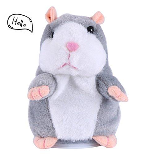 Hamster Spielzeug Sprechen (Hamster Spielzeug Sprechende Hamster Maus Baby Kinder Plüsch Spielzeug, wiederholt was du sagst Hamster Stofftier Sprechende Hamster Adorable Interessante Plüsch Spielzeug Geschenk für Baby Kinder (Grau))
