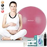 Pregnancy Birthing Ball 75cm | Anti Burst with Hand Pump, Extra Plugs and Instructions Guide | Maternity Birth and Weight Loss Yoga Fitness | Stability Ball - Pink