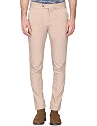 Stop By Shoppers Stop Mens 5 Pocket Solid Beige Chinos