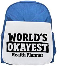 World's Okayest Health Planner printed kid's Bleu  backpack, backpack, backpack, Cute backpacks, cute small backpacks, cute Noir  backpack, cool Noir  backpack, fashion backpacks, large fashion backpacks, Noir  fashion ba b629ea