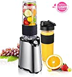 Mixer Smoothie Maker, Aicok Mini Standmixer mit 600 ml BPA-frei Tragbar Tritan-Trinkflasche für Shake, Smoothie, gefrorene früchte, Getränk von Obst und Gemüse,Easy to Use & Clean, 23000 U/Min