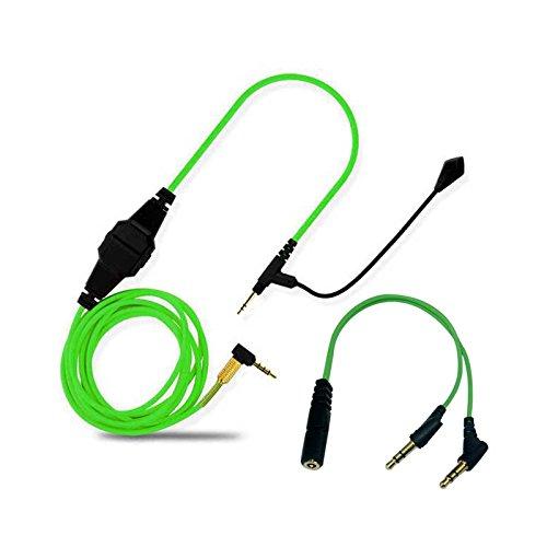 Preisvergleich Produktbild Universelles Boom-Mikrofon-Volumen-Ersatzkabel von Lovinstar,  für Bose QC25,  QC35,  AE2,  OE2i auf Gaming-Kopfhörer,  für Skype,  PS4,  Xbox One. PC,  Laptop,  Telefon,  2, 5 mm auf 3, 5 mm grün