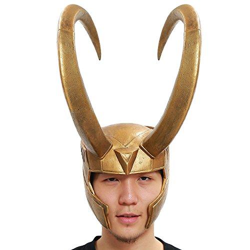 Kostüm Thor Loki (Halloween Helm Cosplay Kostüm Golden Handgefertigt Loki PVC Voll Kopf Maske Fancy Film)