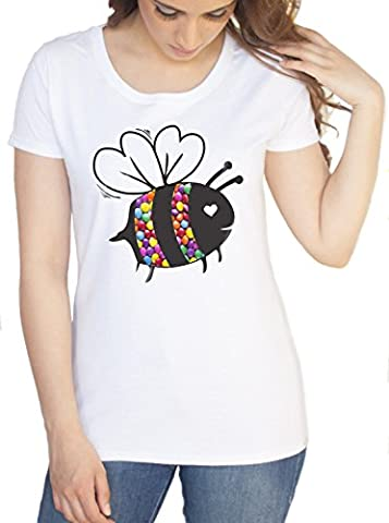 Womens White T-Shirt With Bumblebee Print Smarties Print Womens Fastion T shirt C8-8 (Small)