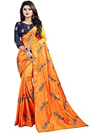 4e08f2b878c539 Shiroya Brothers Women s Silk Embroidered Saree with Blouse Piece  (Peacock Multicolour)