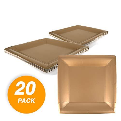 SparkSettings, frostige Pappteller, schnittfest, robust, kompostierbar, quadratisch, Einweg-Papierteller aus Kunststoff, für alle Anlässe, 20 Stück, verschiedene Farben gold (Party-teller Verschiedene Farben)