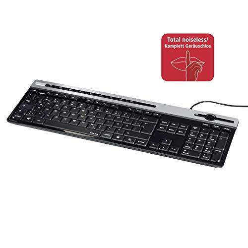 Hama Multimedia Tastatur (geräuschlose Tastatur, 12 Multimedia Tasten, flach, Lautstärkeregler, kabelgebunden, USB, deutsches Layout QWERTZ, Ziffernblock; 1,4m Kabellänge, Computer-Tastatur) schwarz