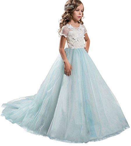 NNJXD Mädchen Spitze Tüll Gestickte Prinzessin Prom Ballkleid Formale Partei Lang Schwanz Kleider Größe (130) 6-7 Jahre Blau