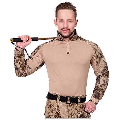 XXHDYR Camouflage Herren Slim Uniform Jagdanzug atmungsaktiv langärmelig T-Shirt T-Shirt mit Reißverschluss Tarnhose Tarnen (Size : M) -