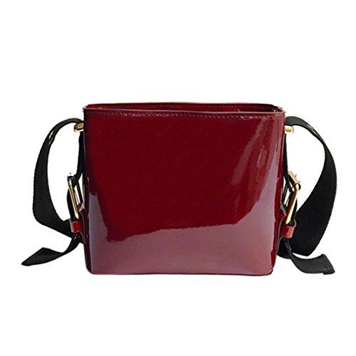 BZLine® Frauen Mode-Patent-Leder-Eimer-Taschen Crossbody-Umhängetasche (Rot) (Leder-eimer Patent Tasche)