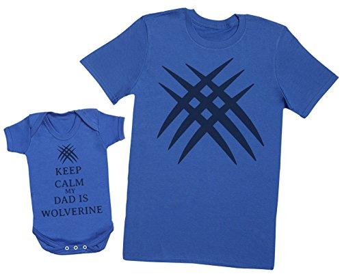 Keep Calm My Dad is Wolverine - Ensemble Père Bébé Cadeau - Hommes T-Shirt & Body bébé - Bleu - Medium & 6-12 Mois
