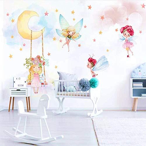 Moderne 3D Kind Wandtapete Fototapete Fantasie Elf Umweltfreundliche Für Mädchen Baby Kinderzimmer Schlafzimmer 200 * 140cm - Tapete, Disney Mädchen, Kinder,
