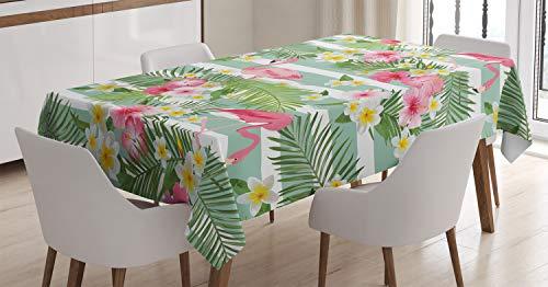 ABAKUHAUS Flamingo Tischdecke, Exotische Hawaii-Blätter, Für den Inn und Outdoor Bereich geeignet Waschbar Druck Klar Kein Verblassen, 140...