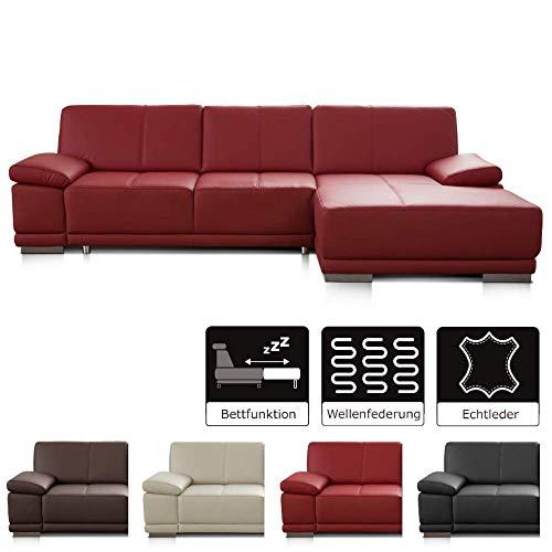CAVADORE Schlafsofa Corianne mit Longchair rechts / Ledercouch in modernem Design / Inkl. beidseitiger Armteilverstellung / 282 x 80 x 162 / Echtleder rot