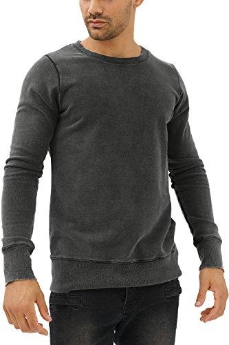 trueprodigy Casual Herren Marken Sweatshirt einfarbig Basic, Oberteil cool und stylisch mit Rundhals Ausschnitt (Langarm & Slim Fit), Sweatshirt für Männer in Farbe: Grau 2582111-0403-L