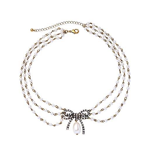 Z&HA Dreischichtige Multi-Strand-Perlenschall Schmetterling Knot Bow Charm Vintage Gold Short Halskette für Frauen Elegant Dress Schmuck