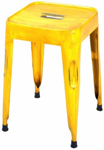 Links - Industry 10, set 4 sgabelli, dim. 33x33x46h cm, metallo verniciato giallo, etnico
