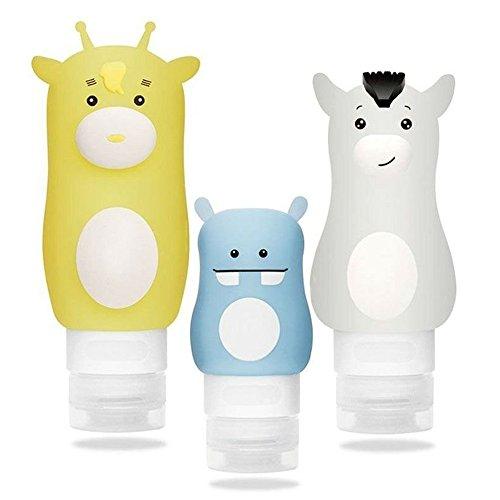 Bluehare bottiglie da viaggio in silicone,senza bpa,approvate dalla tsa,per shampoo, balsamo, crema, lozione, per shampoo, balsamo, crema, lozione, per viaggio in aereo(giallo / bianco / blu)
