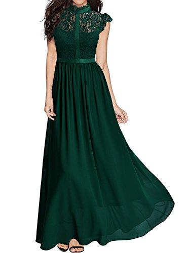 Miusol Damen Elegant Spitzen Abendkleid Brautjungfer Cocktailkleid Chiffon Faltenrock Langes Kleid Gruen Gr.S