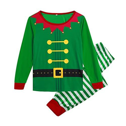 Bascar Nachtwäsche Schlafanzug Weihnachtsdruck Die Weihnachtsfamilie Family Matching Christmas Stripe Pyjamas Herren Nachtwäsche Anzug Top und Hose (L) (Crewneck Pyjama-shirt Herren)