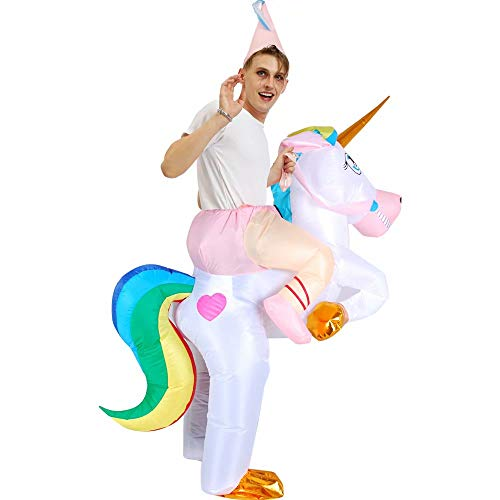Kinder Erwachsene Aufblasbare Einhorn Kostüm Halloween Kostüm Blow Up Party Cosplay Kostüm Aufblasbare Einhorn Reiter Kostüm mit einem Hut (Kind 120-140 cm, Erwachsene 160-190 - Einhorn Blow Up Kostüm