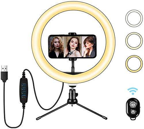 """Ring Light LED 10""""avec Support de trépied et Support de téléphone, Anneau de lumière Selfie de Bureau avec Gradation 3 Modes d'éclairage et 10 Niveaux de luminosité pour vidéo Youtube (White)"""