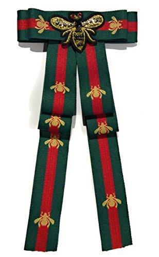 Needful Thinx Blogger Fashion Schleifenbrosche Damen Brosche mit Strass versch.Modelle SB52 (M22 / Biene Patch grün rot/ca.12x23 cm)