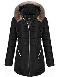 Finejo Women's Winter Warm Thickened Jacket Fur Hood Long Down Coat Parka