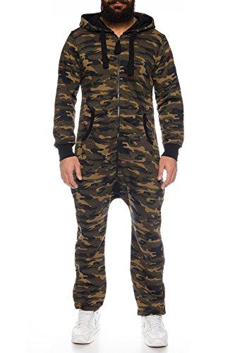 Herren Jumpsuit Overall Strampeler Latzhose Ganzkörperanzug Sweat Camouflage Design. Warm, Weich, Sportlich (L, Khaki)